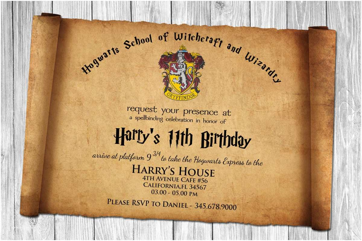 Harry Potter Birthday Party Invitations Free Harry Potter Papyrus Style Birthday Invitation Psd