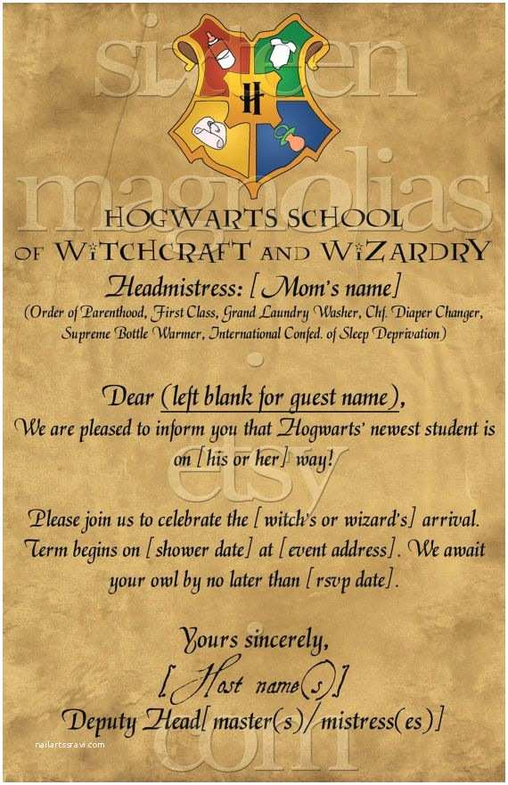 Harry Potter Birthday Party Invitations Harry Potter Baby Shower Invitation Kasandra Riehle