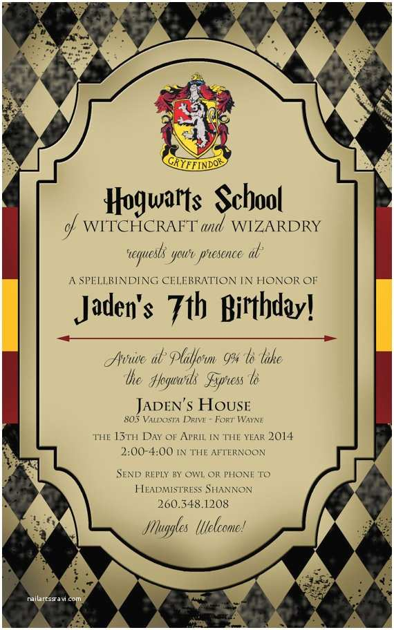 Harry Potter Birthday Party Invitations Harry Potter Birthday Invitation by Life Purpose On Etsy