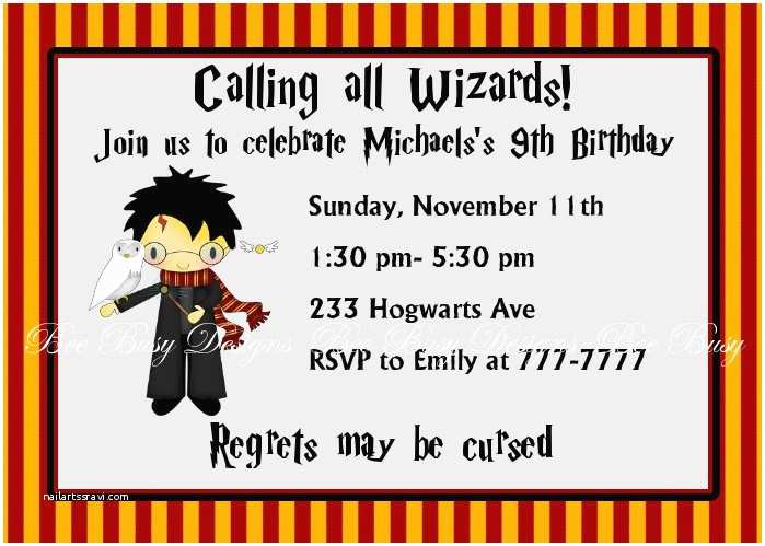Harry Potter Birthday Party Invitations Harry Potter Birthday