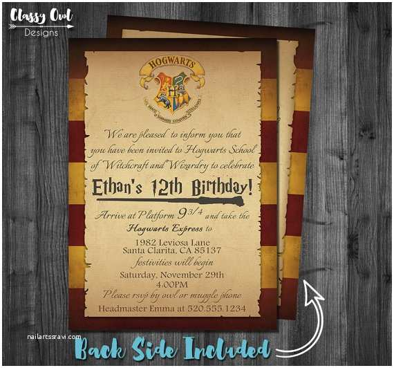 Harry Potter Birthday Party Invitations Harry Potter Invitation Harry Potter Birthday by