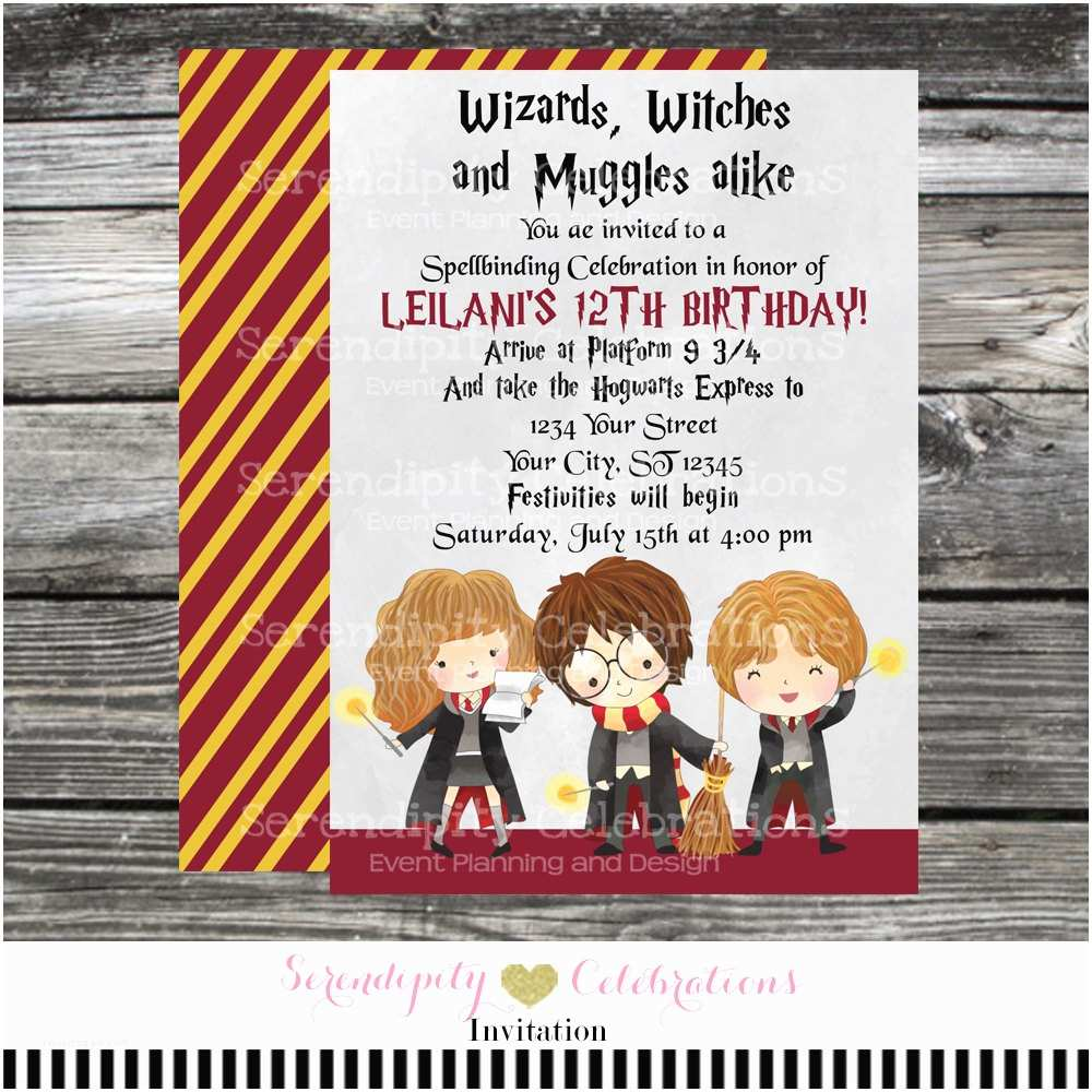 Harry Potter Birthday Party Invitations Printed Birthday Invitation Harry Potter Harry Potter