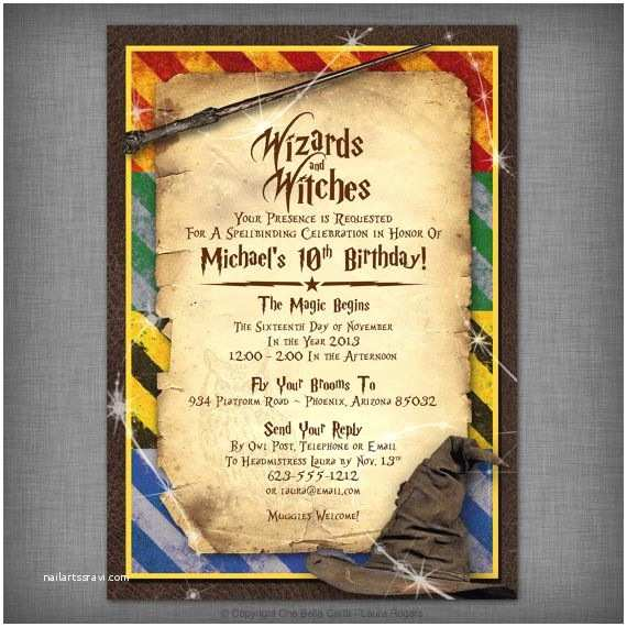 Harry Potter Birthday Party Invitations Witches & Wizards Printable Invitation Pinterest