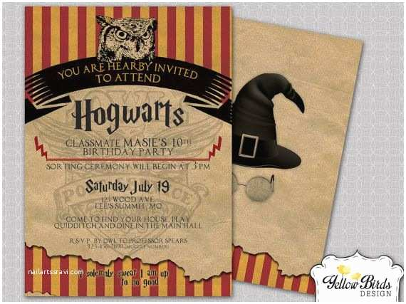 Harry Potter Party Invitations Birthday Invite Themed