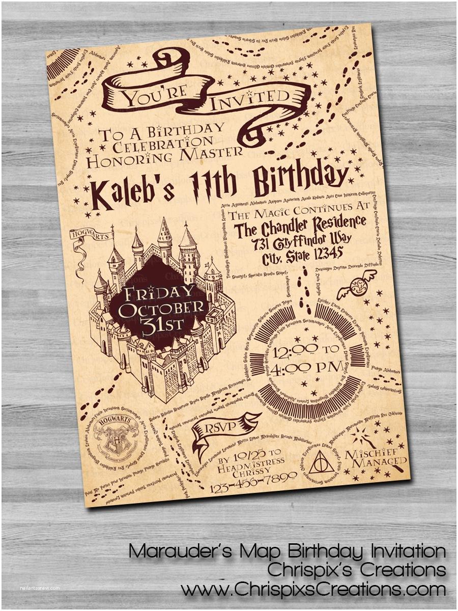 Harry Potter Party Invitations Harry Potter Marauder S Map Birthday Invitation