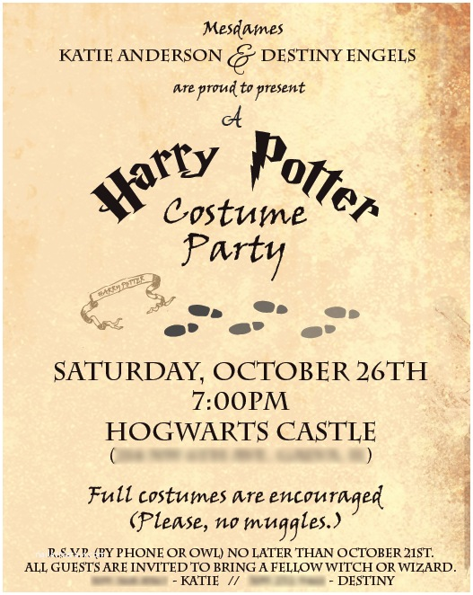 Harry Potter Party Invitations Harry Potter Party Invitations