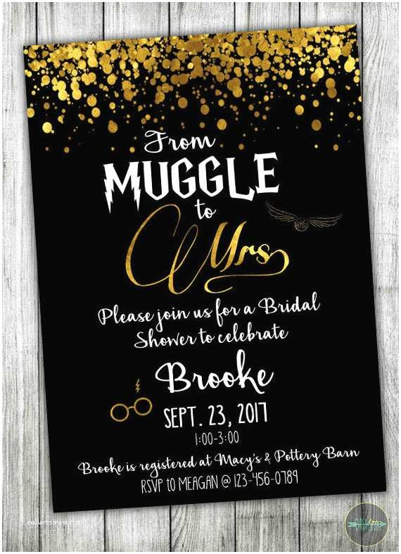 Harry Potter Wedding Invitations Custom Harry Potter Bridal Shower Invitation Muggle to Mrs