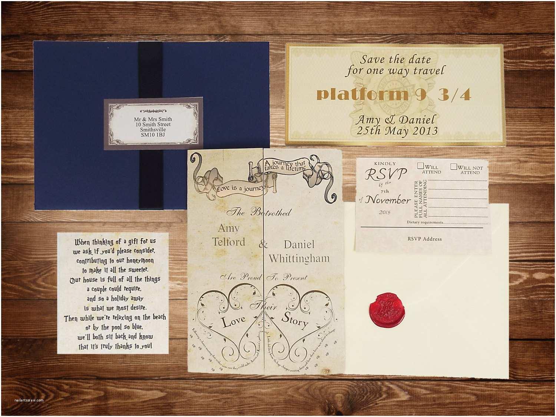 Harry Potter Wedding Invitations Handmade Harry Potter Wedding Invitations