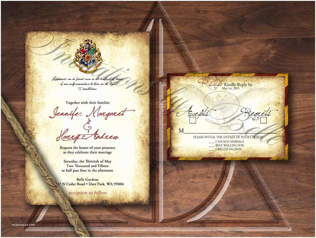 Harry Potter Wedding Invitations Harry Potter Inspired Wedding Invitation Set Owl Crest Spell