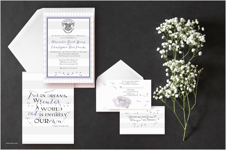 Harry Potter Wedding Invitations Inspired Wedding Invitation Harry Potter Silver by
