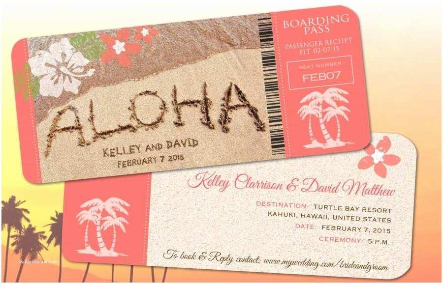 Hawaii Wedding Invitations Hawaii Wedding Boarding Pass Save the Date
