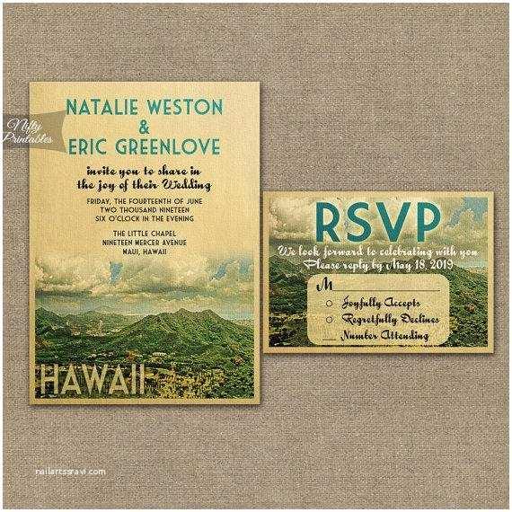 Hawaii Wedding Invitations Hawaii Wedding Invitation Printable Vintage