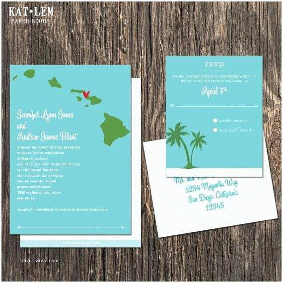 Hawaii Wedding Invitations Hawaii Wedding Invitation Set Oahu Kaui Maui by