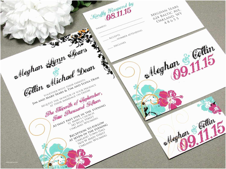 Hawaii Wedding Invitations Hawaiian Hibiscus Flower Wedding Invitation Set By