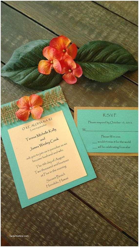 Hawaii Wedding Invitations Rustic And Beach Themed Destination Wedding