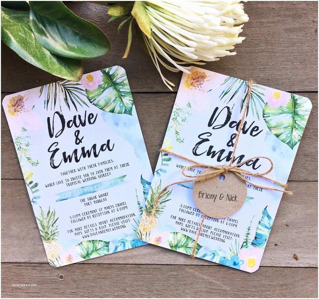 Hawaii Wedding Invitations Tropical Floral Watercolor Watercolour Wedding