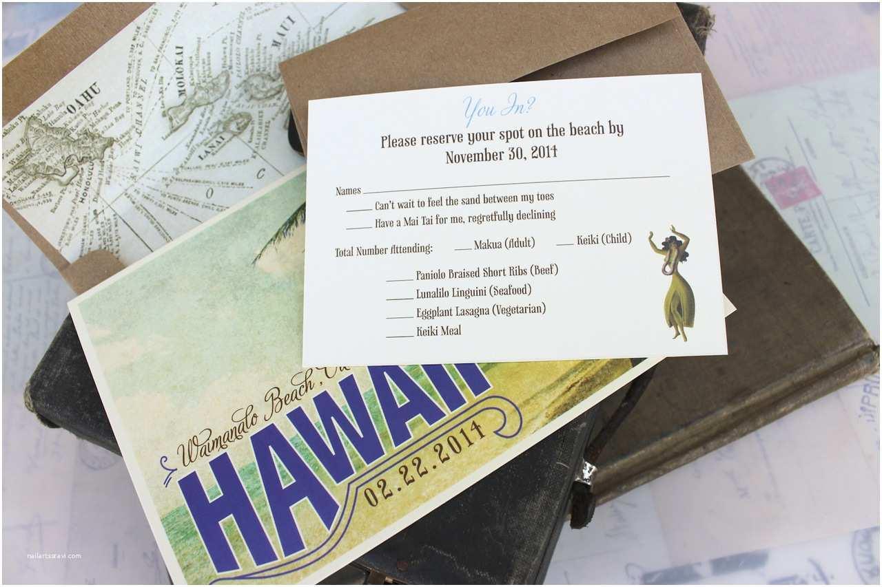 Hawaii Wedding Invitations Vintage Travel Postcard Wedding Invitation Hawaii