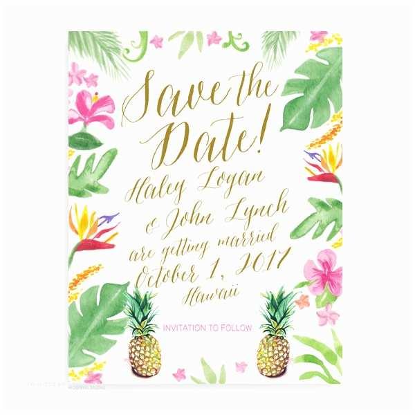 Hawaii Wedding Invitations Watercolor Wedding Invitations Unique Custom Wedding