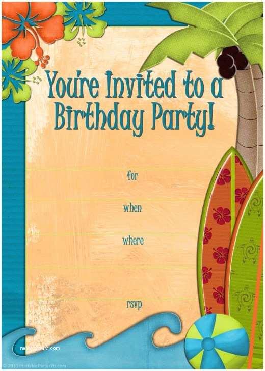 Hawaiian Party Invitations Free Printable Beach Party Luau and Bbq Invitations