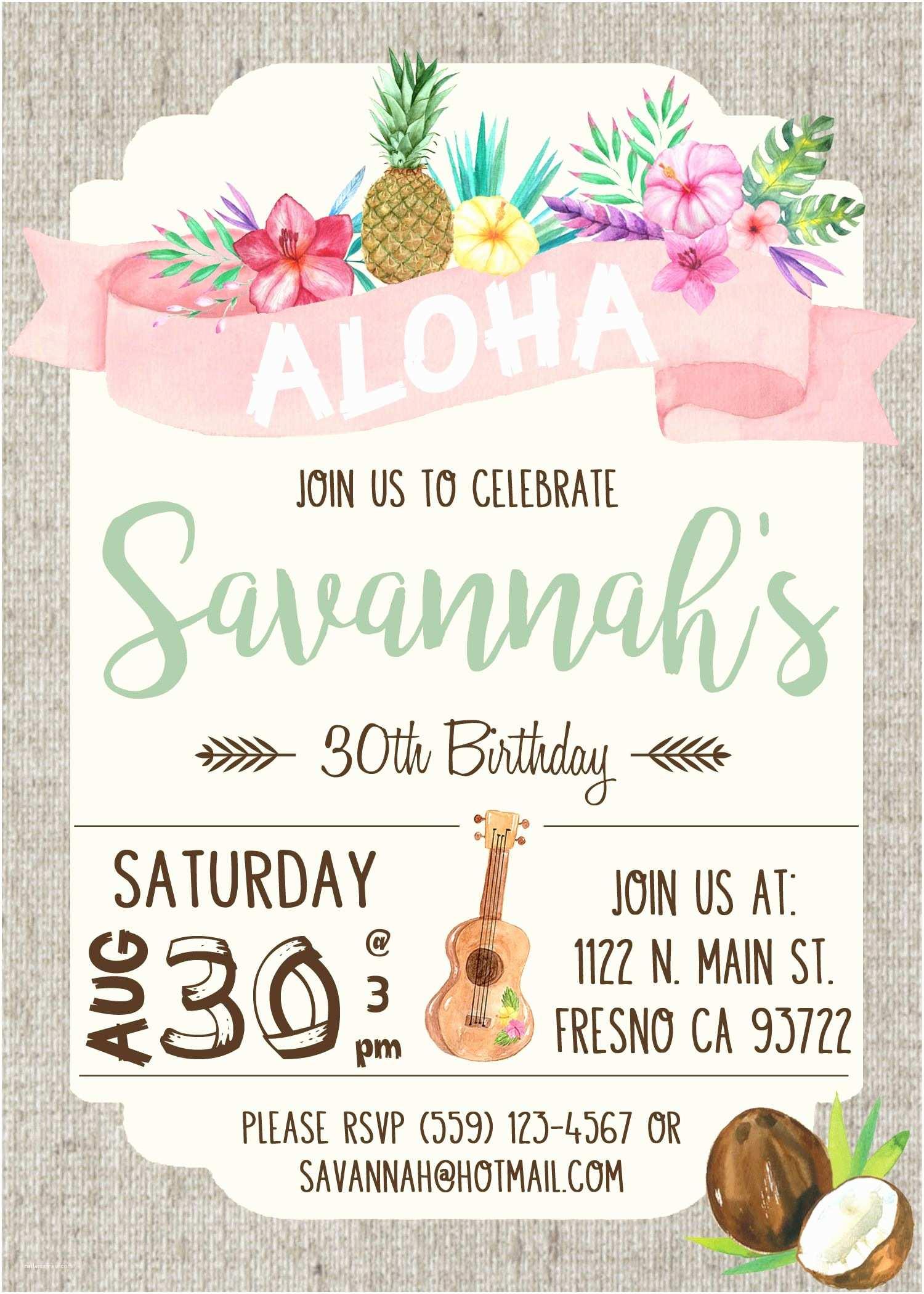 Hawaiian Party Invitations Hawaiian Luau Birthday Party Invitation Invite Watercolor