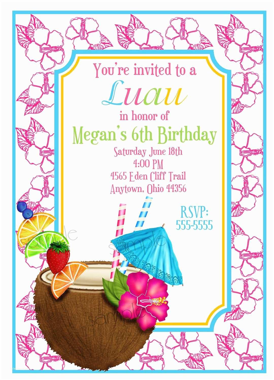 Hawaiian Party Invitations Hawaiian Luau Invitations Luau Invitations Coconut Hawaiian