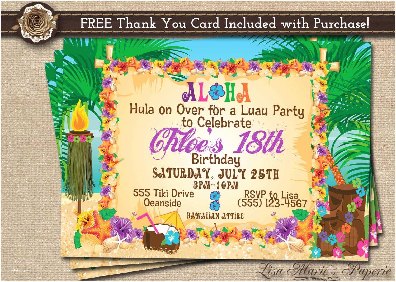 Hawaiian Party Invitations Hawaiian Party Invitation Luau Birthday Invitation Luau