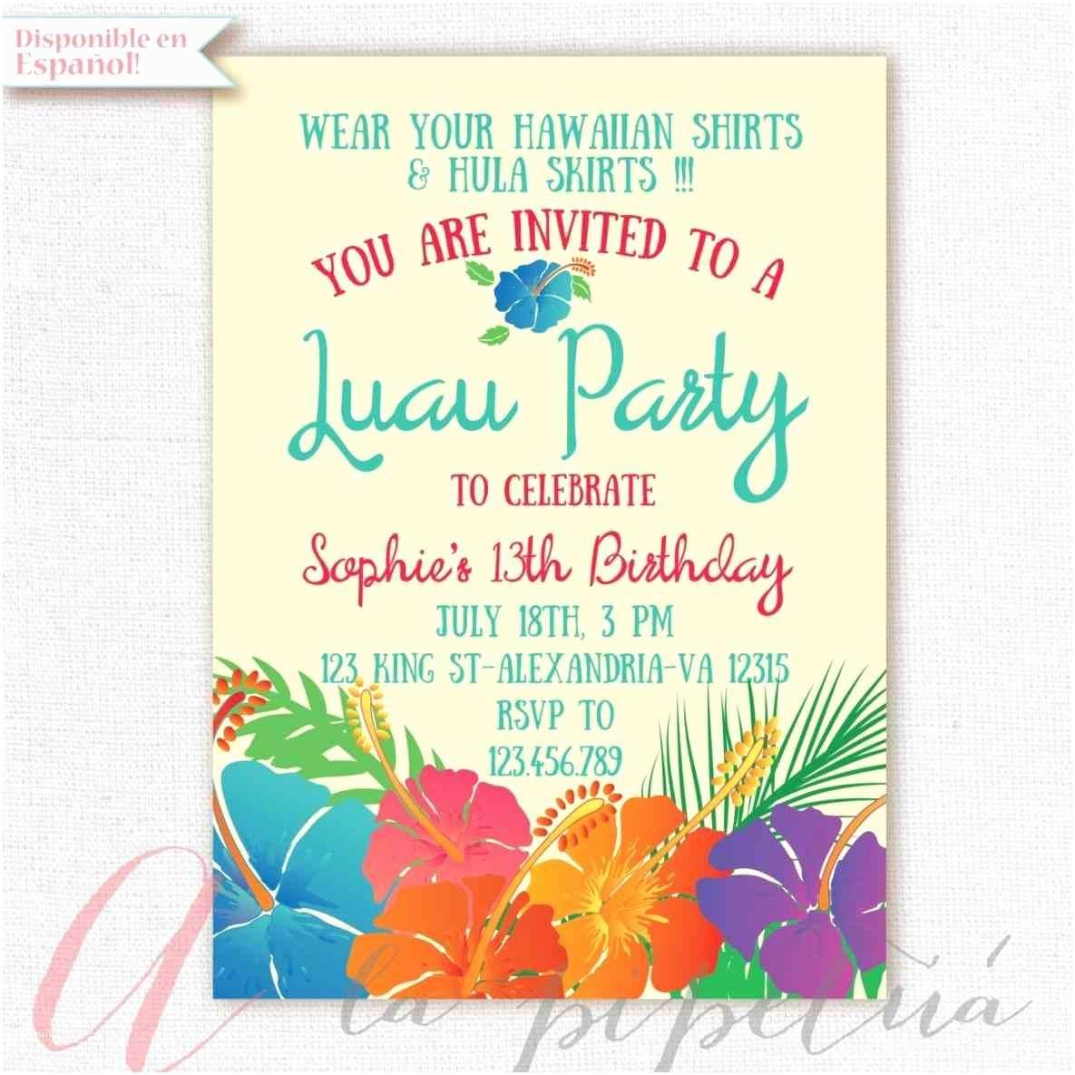 Hawaiian Party Invitations Invitations Templates Birthday Businnes Card Invitation