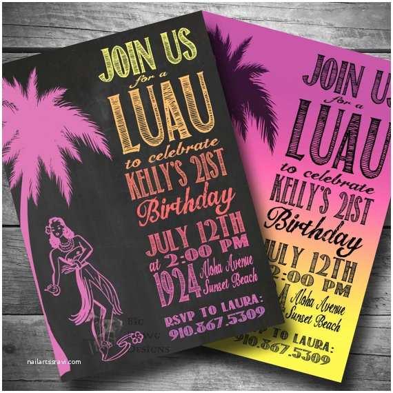 Hawaiian Party Invitations Luau Birthday Invitation Hawaiian themed Party Invite