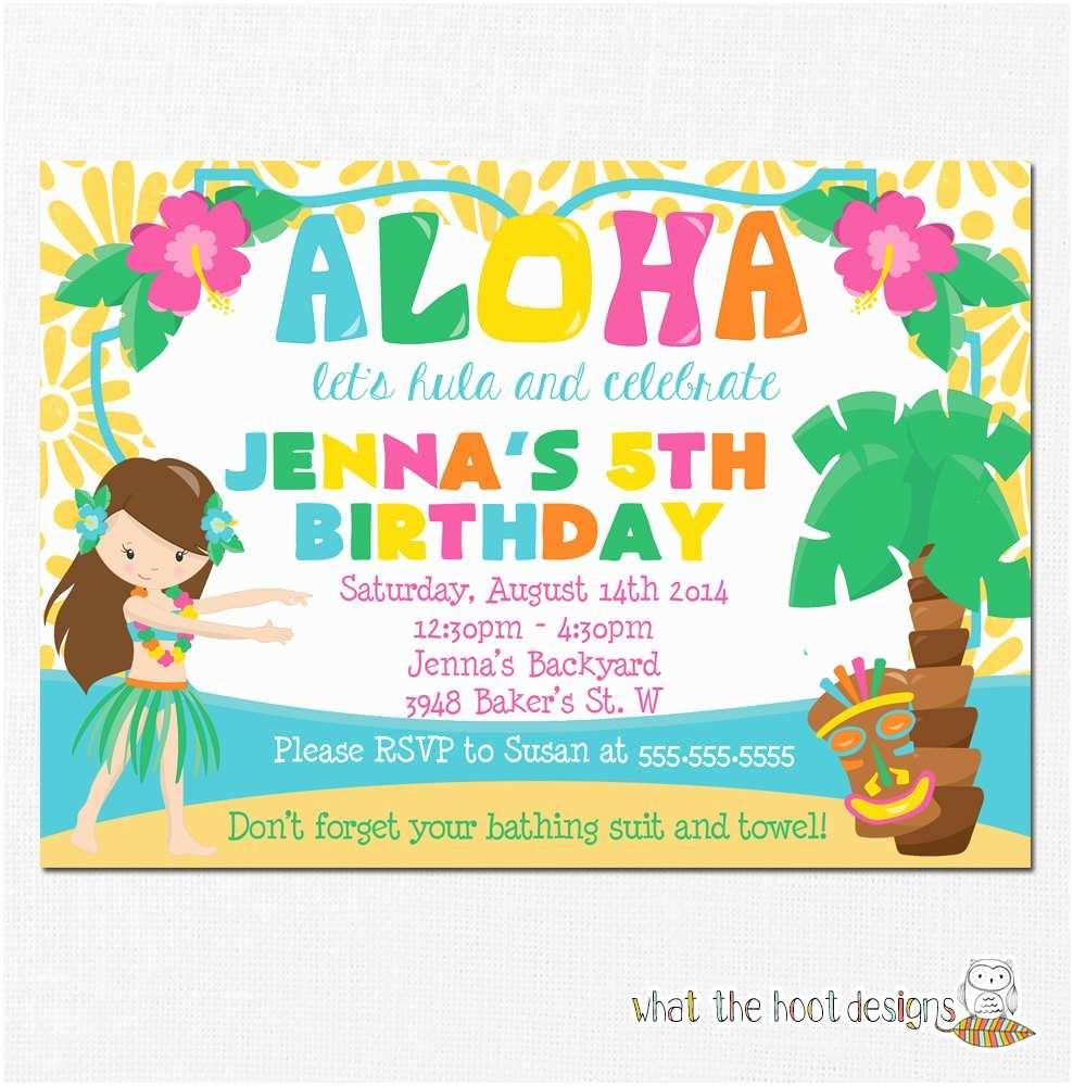 Hawaiian Party Invitations Luau Invitation Birthday Pool