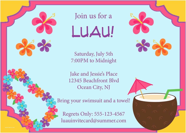 Hawaiian Party Invitations Luau Invitation Template Resume Builder
