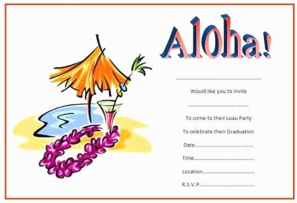 Hawaiian Party Invitations Luau theme Party