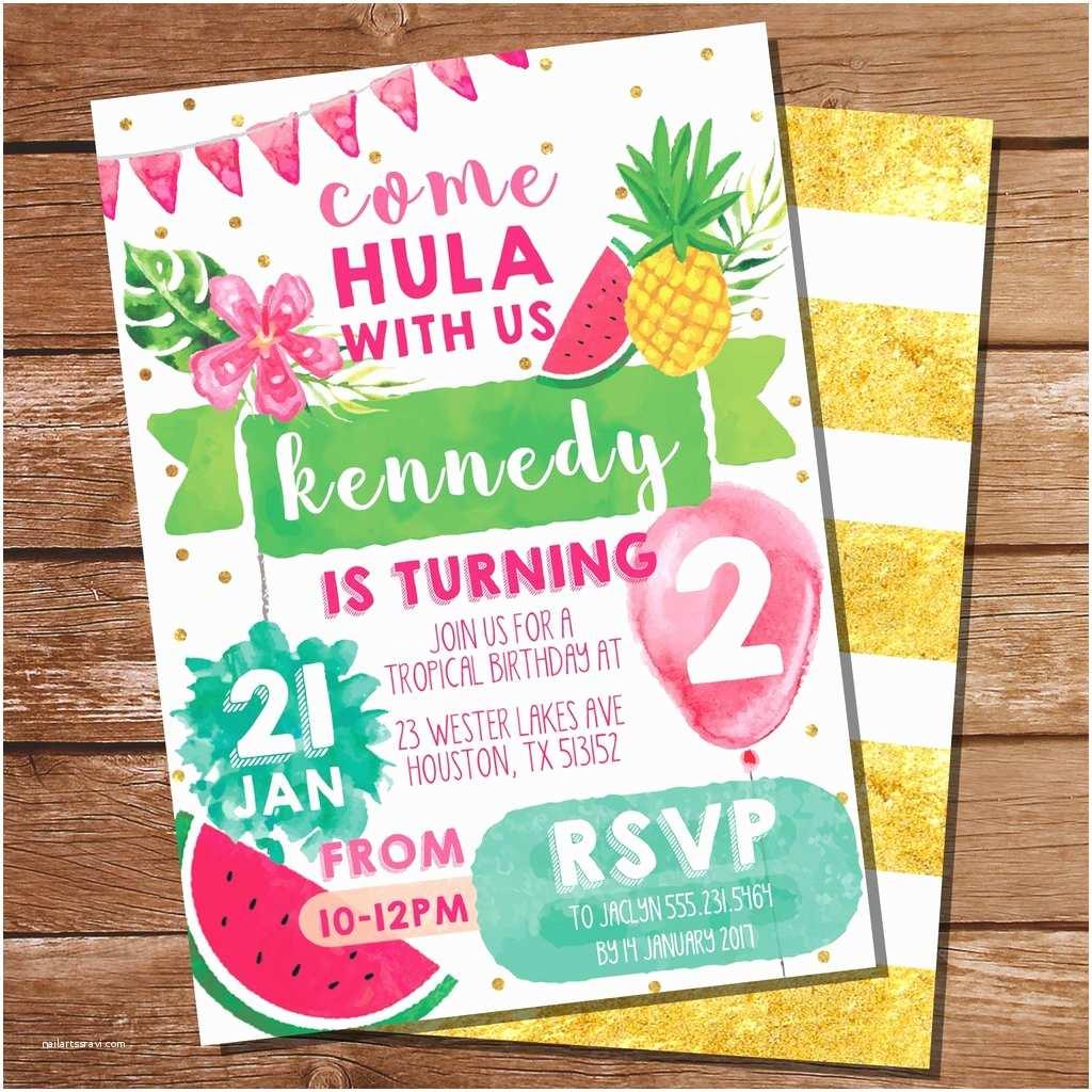 Hawaiian Party Invitations Tropical Party Invitation