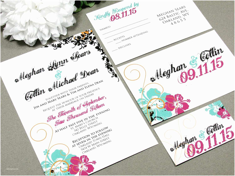 Hawaiian Wedding Invitations Hawaiian Hibiscus Flower Wedding Invitation Set by Runkpock