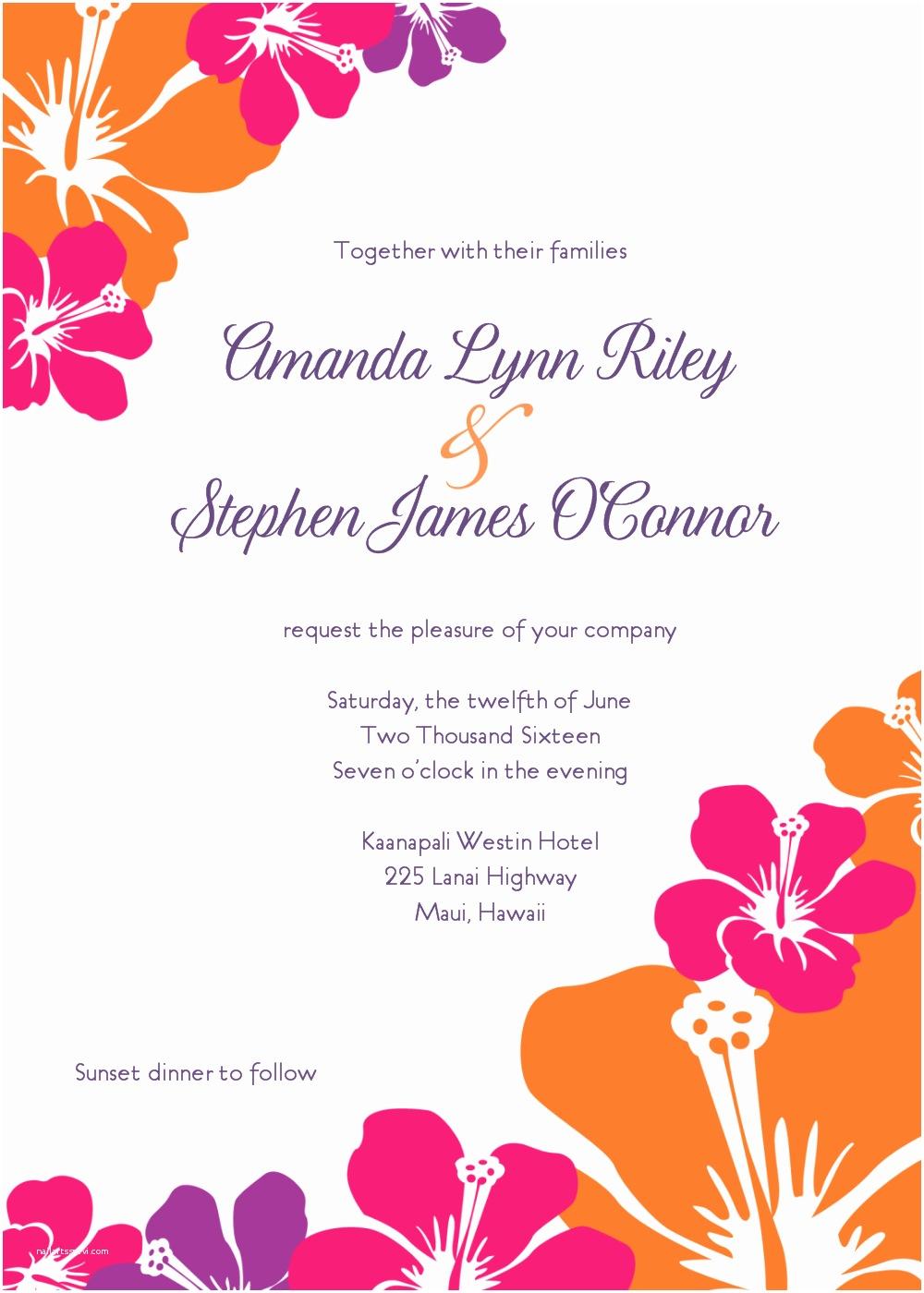 Hawaiian Wedding Invitations Hawaiian Wedding Invitations Template