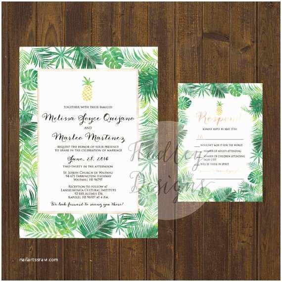 Hawaiian Wedding Invitations Pineapple Wedding Invitation Tropical Wedding Invitation