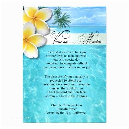 Hawaiian Wedding Invitations Plumeria Starfish Beach Hawaiian Wedding Personalized