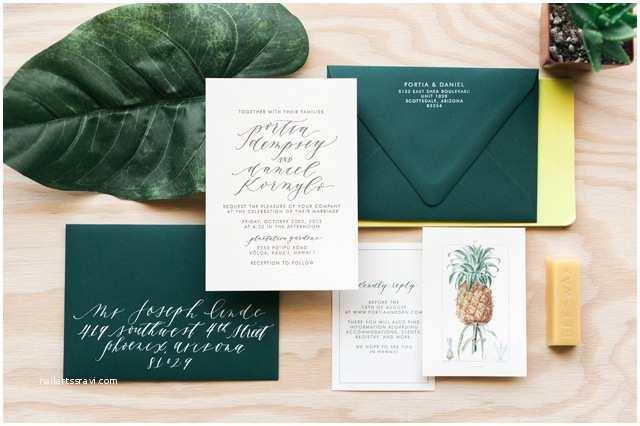 tropical hawaiian calligraphy wedding invitations