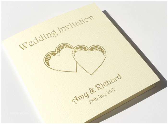 Heart Wedding Invitations Personalised Vintage Heart Wedding Invitations Each