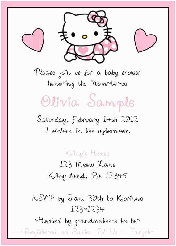 Hello Kitty Baby Shower Invitations Baby Hello Kitty Baby Shower