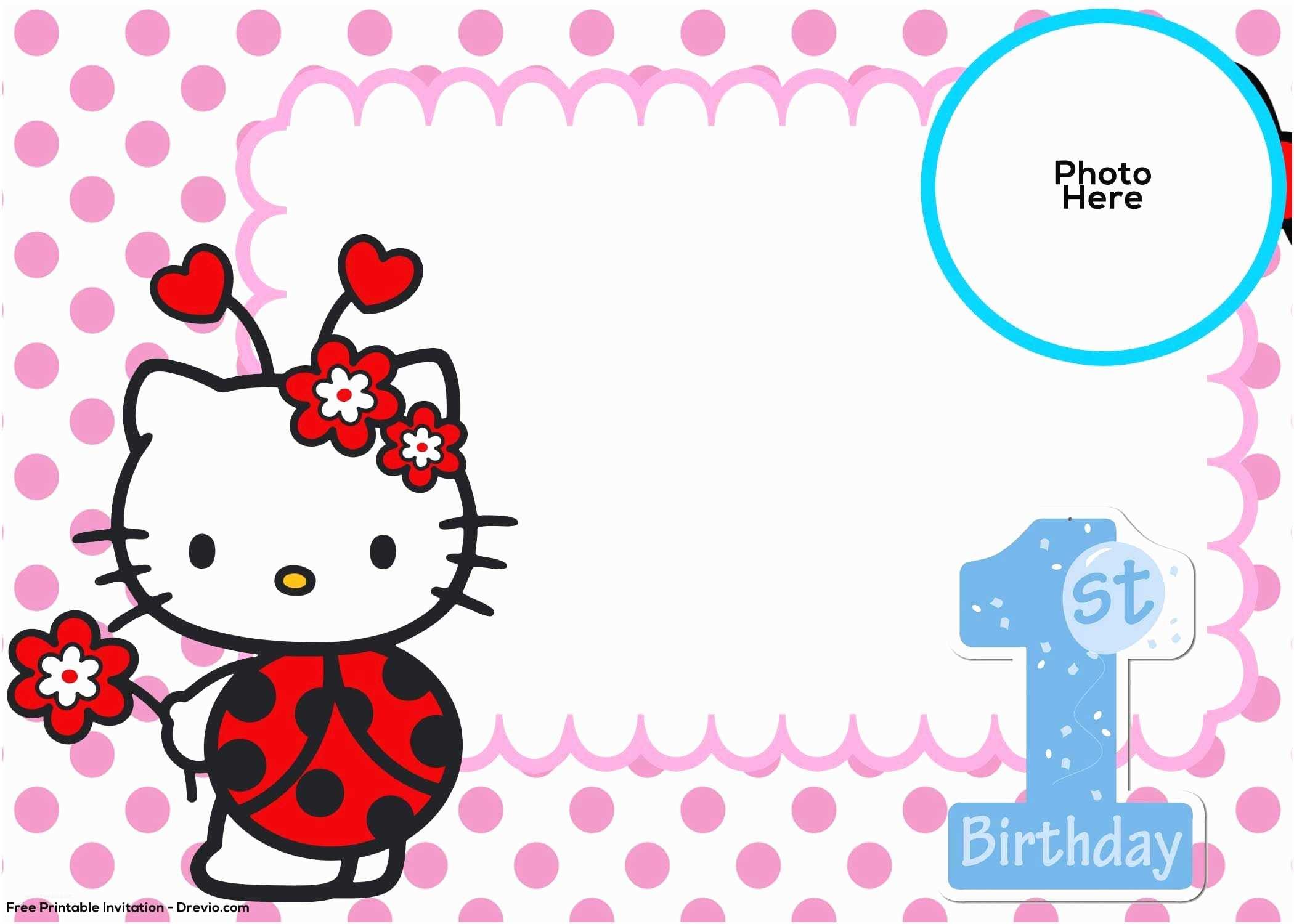 Hello Kitty Birthday Invitations Free Hello Kitty 1st Birthday Invitation Template