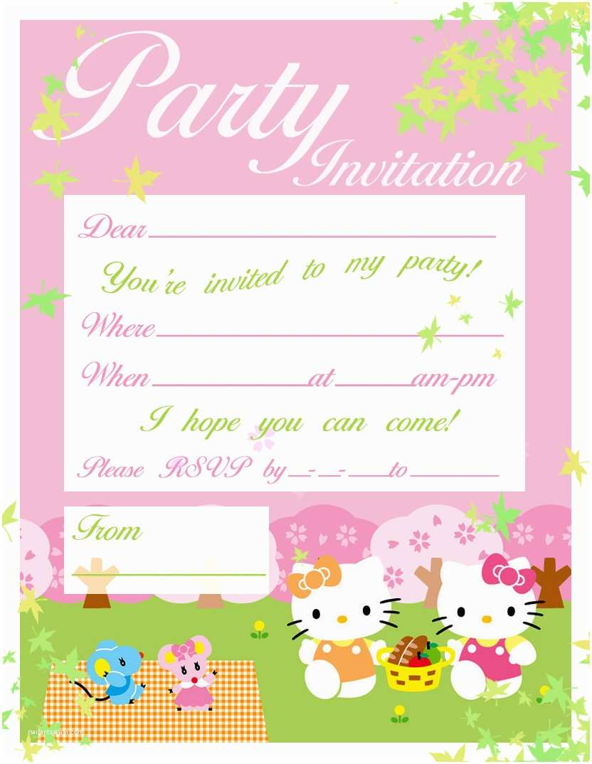 Hello Kitty Birthday Invitations Free Printable Hello Kitty Birthday Party Invitations