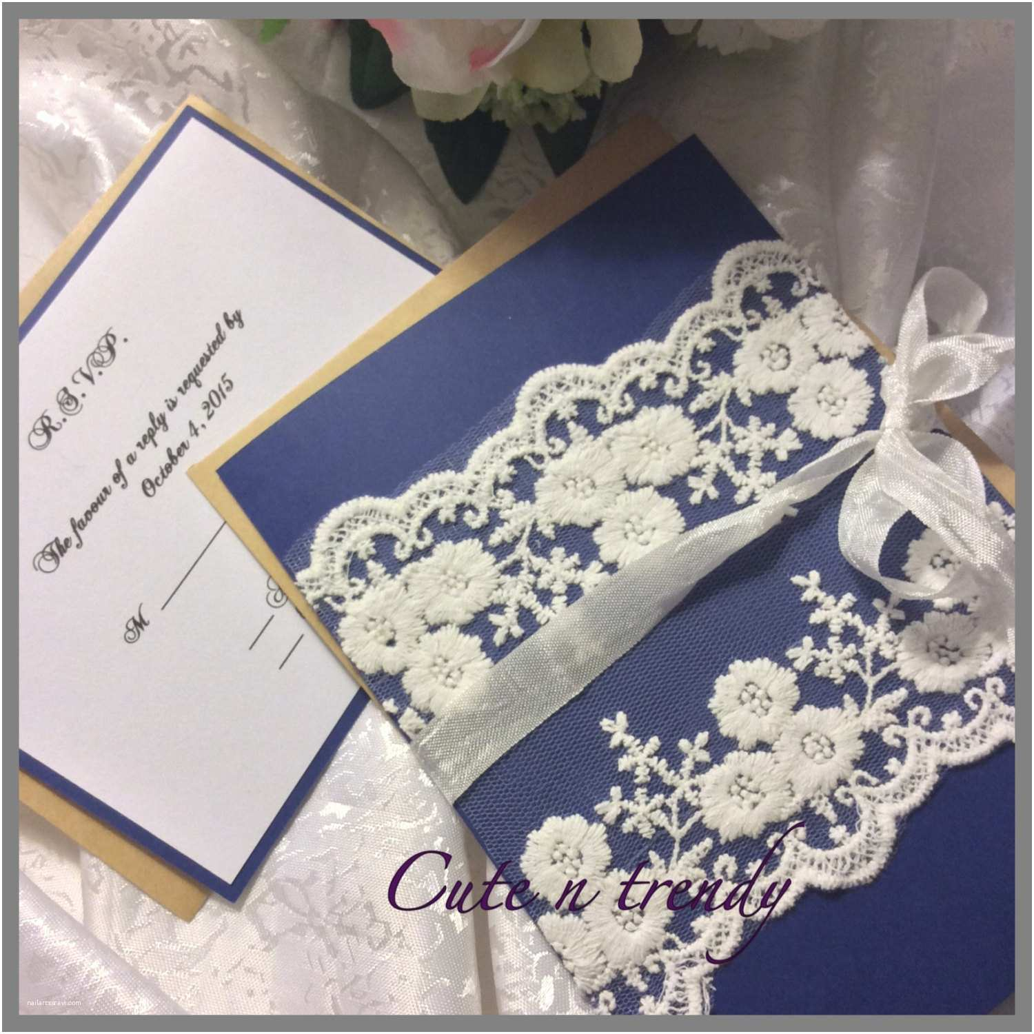 High End Wedding Invitations Navy Blue High End Lace Wedding Invitation Suite
