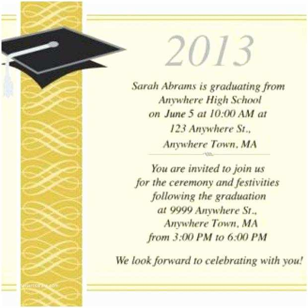 High School Graduation Invitation Wording Graduation Ceremony Invite Wording for Sample Graduation