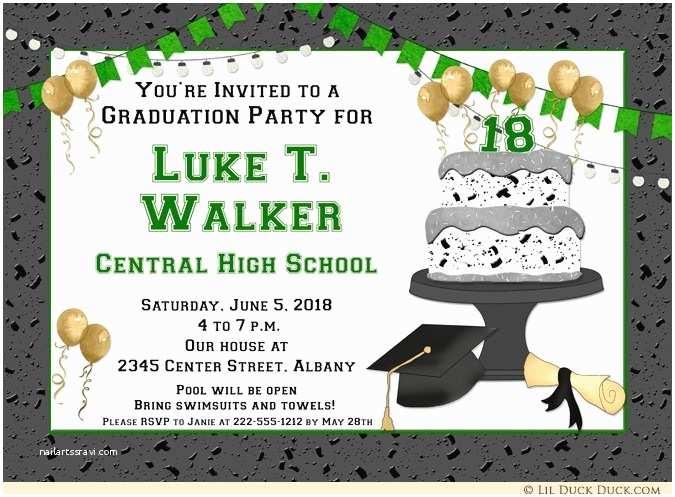 High School Graduation Party Invitations Green Varsity High School Graduation Party Invitations