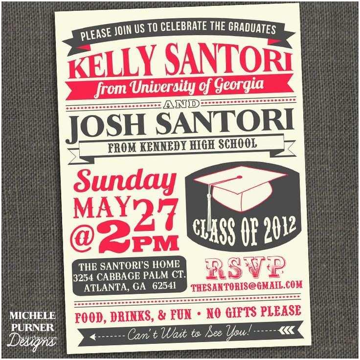 High School Graduation Party Invitations Two Graduates High School or College Graduation Party