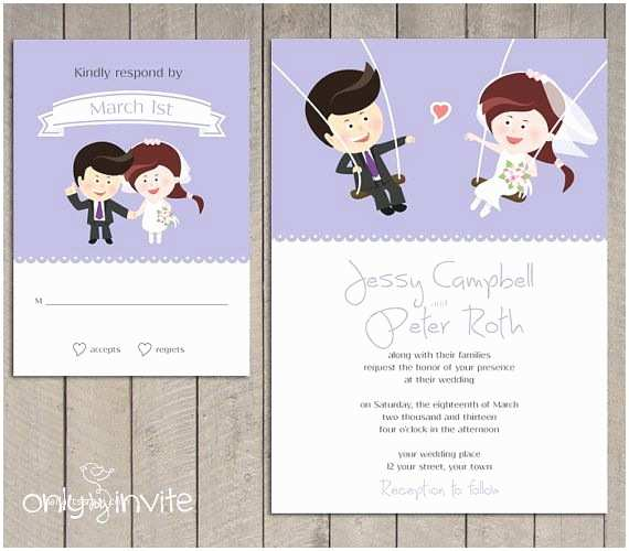 Hilarious Wedding Invitations Cartoon Bride & Groom On the Swings Wedding Invitation