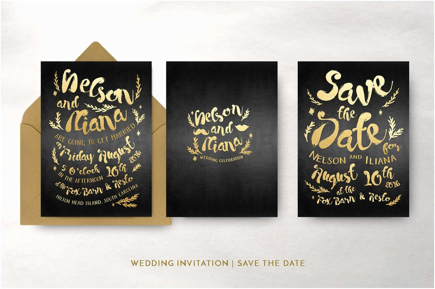 Hipster Wedding Invitations Black & Gold Hipster Wedding Invitation Suite by