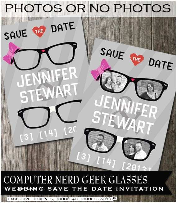 Hipster Wedding Invitations Hipster Geek Wedding Save the Date Invitation – Geek