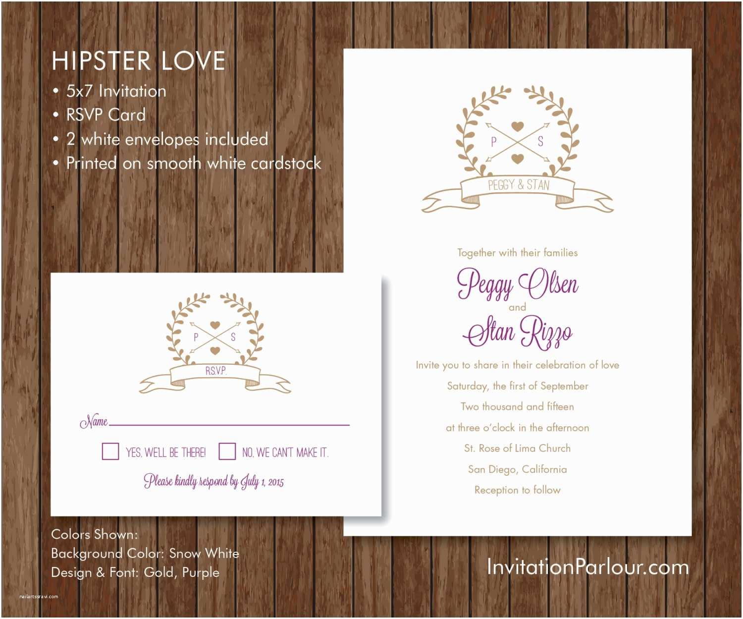 Hipster Wedding Invitations Hipster Love Wedding Invitation Set Printed Customizable
