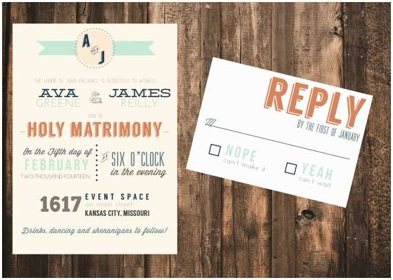 Hipster Wedding Invitations Modern Typography Wedding Invitation 50 Printed Sets
